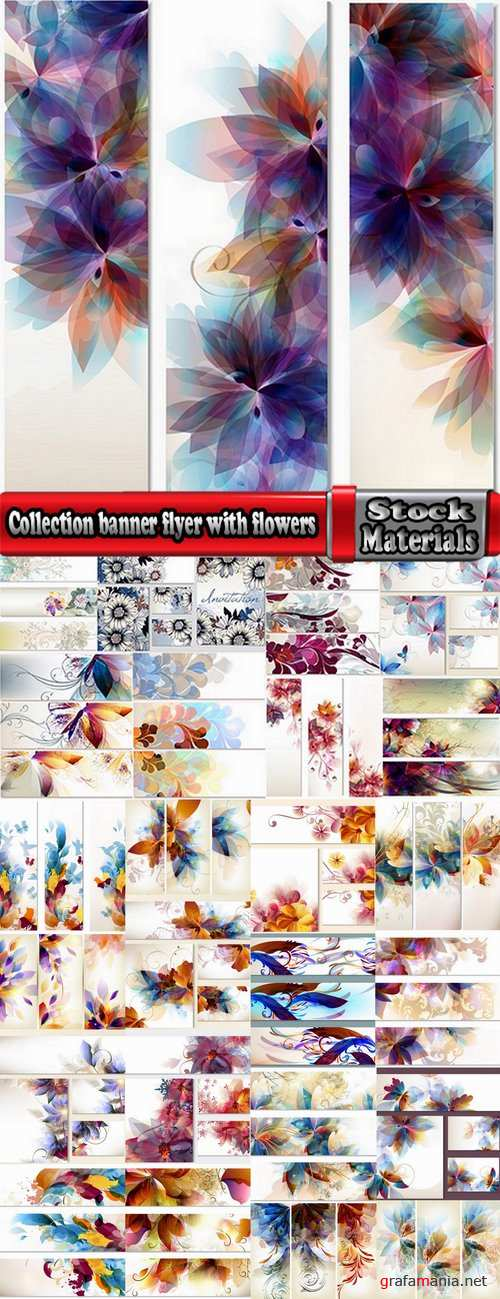 Collection banner flyer with flowers illustration 25 EPS