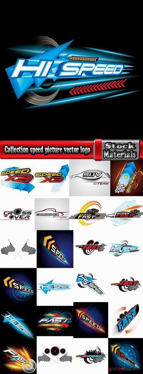 Collection speed picture vector logo illustration of the business campaign 41-25 Eps