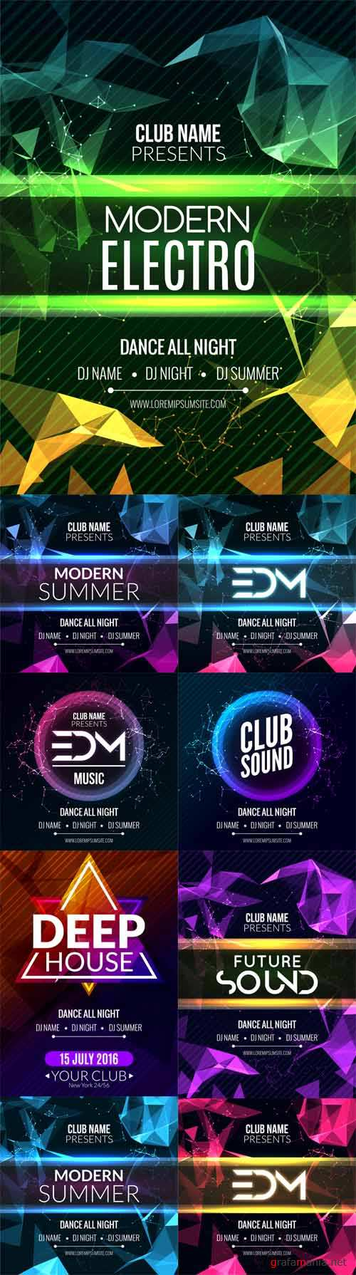 Vector Modern Electro Music Party Template Dance Party Flyers