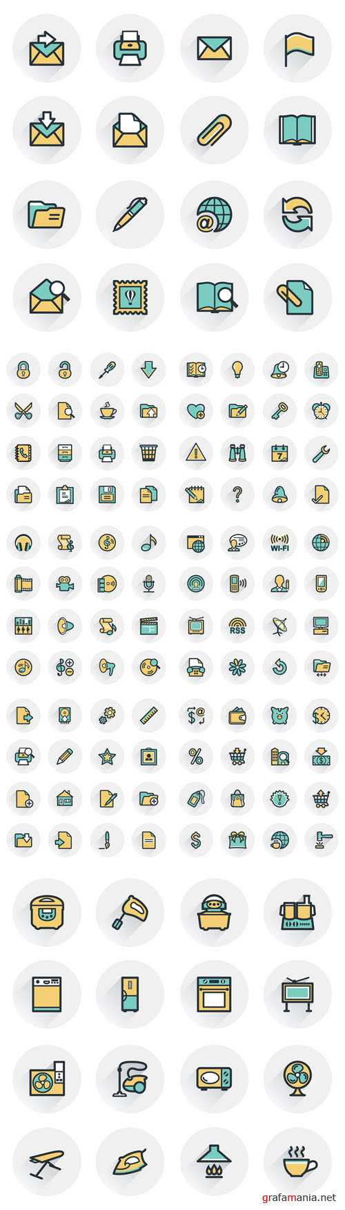 Vector Commerce Document Home Appliances Email Icons Contour Lines with Color Fills Flat Design