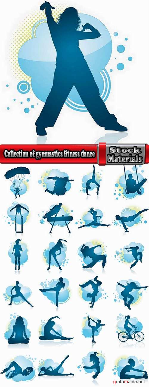 Collection of gymnastics fitness dance breakdance 25 EPS