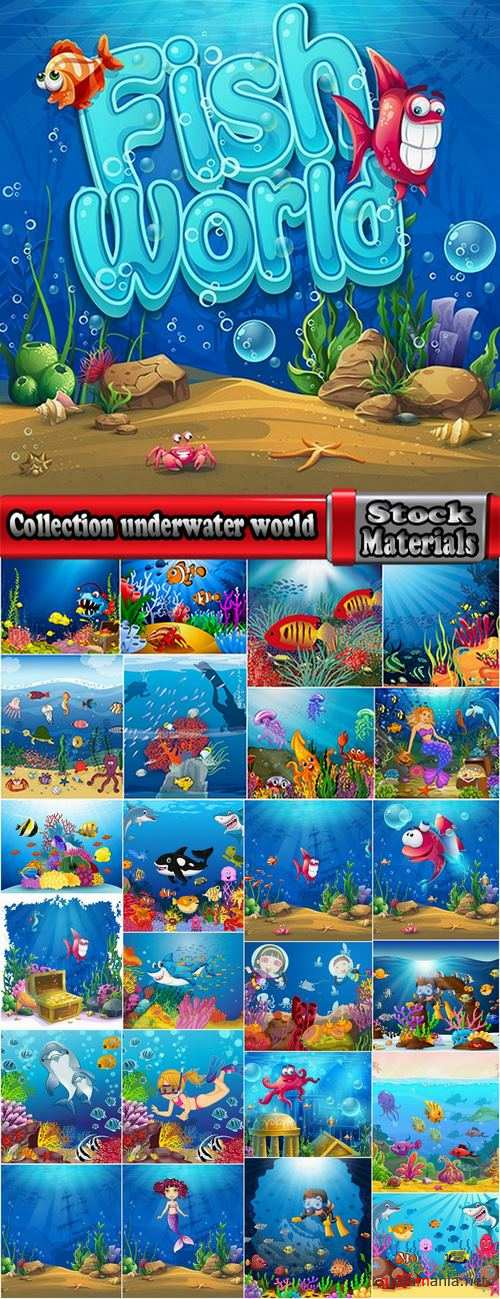 Collection underwater world illustration for the children's book literature fairy tale 25 EPS