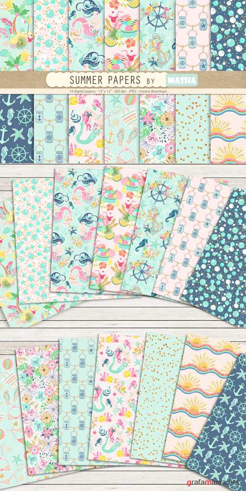 CreativeMarket - SUMMER digital papers 730366