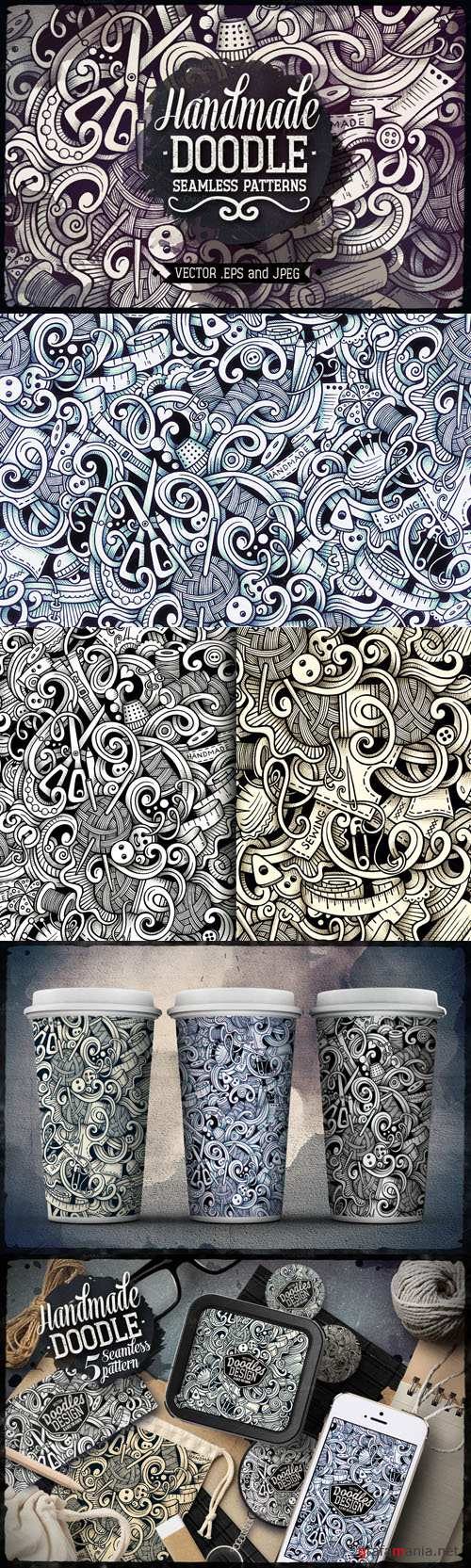 CreativeMarket - 5 Handmade Doodles Patterns 729301