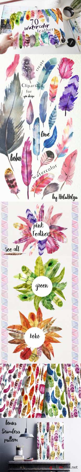 CreativeMarket - 70 watercolor feather files 728540