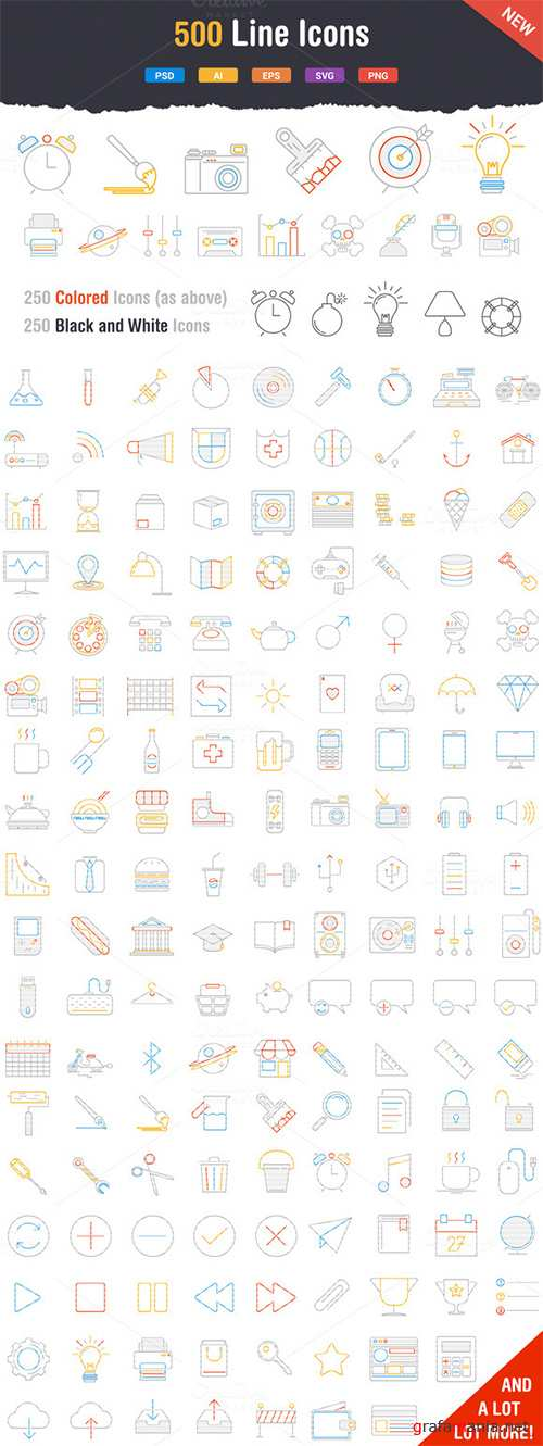 500 Outstanding Line Icons - Creativemarket 43146