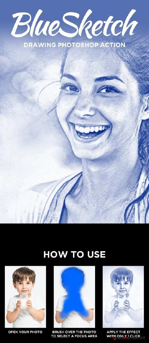BlueSketch - Drawing Photoshop Action - 15907600