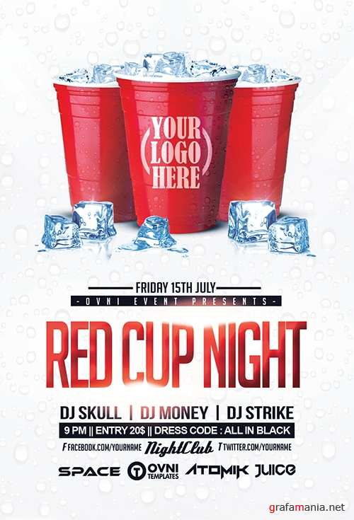 RED CUP Night Flyer Template - 718789