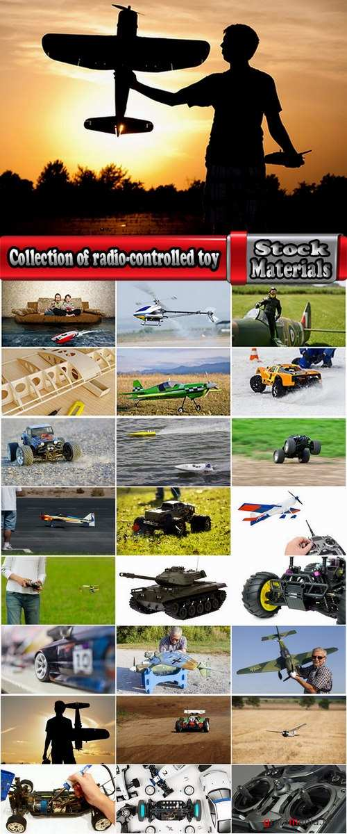 Collection of radio-controlled toy car model airplane glider boat 25 HQ Jpeg