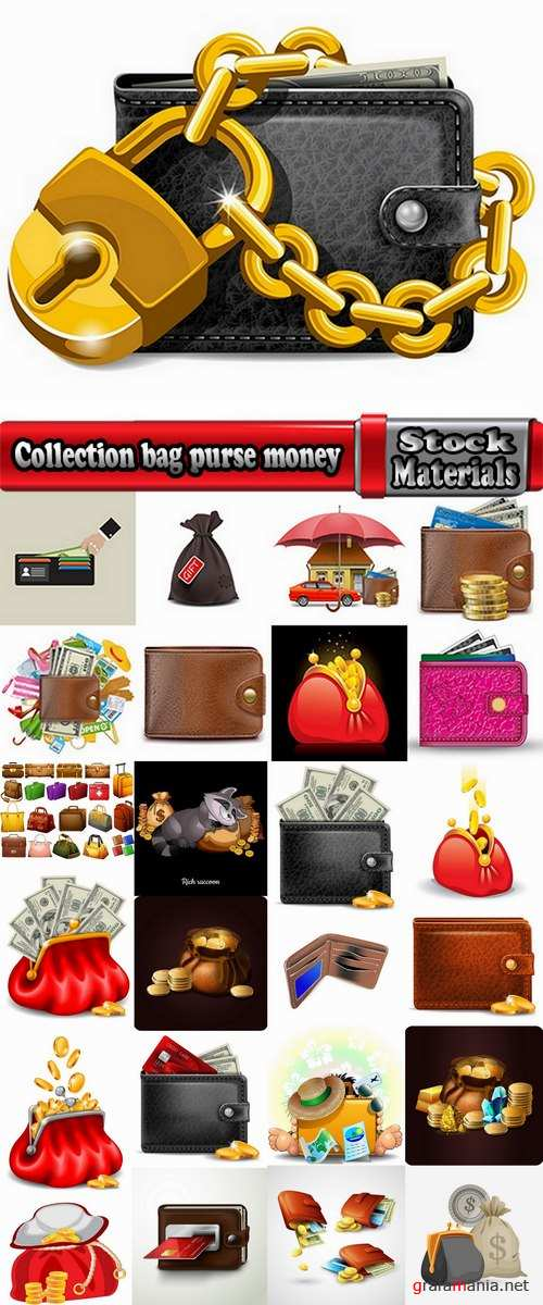 Collection bag purse money a sack banknote business card 25 EPS
