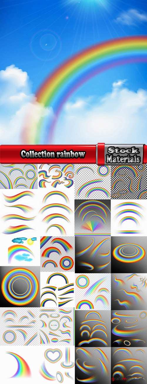 Collection rainbow colored thread strip tape 25 EPS
