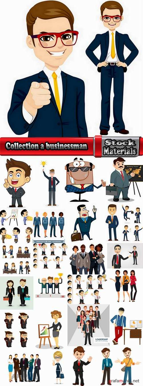 Collection a businessman lady girl cartoon vector image 25 EPS