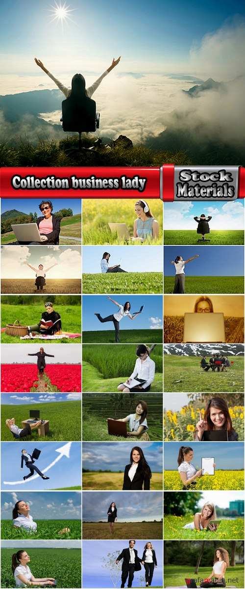 Collection business lady in the meadow grass field 25 HQ Jpeg
