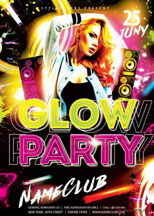 Glow Party V4 PSD Flyer Template