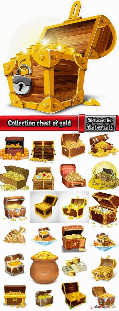 Collection chest of gold money coin cell games and children's illustration design 25 EPS