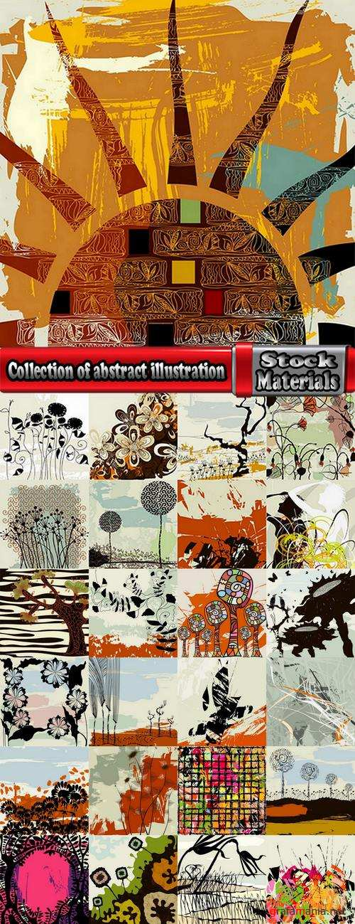 Collection of abstract illustration for t-shirt clothes background is a pattern 25 EPS