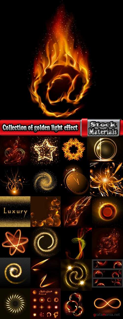 Collection of golden light effect background is an element of a web page design 25 EPS