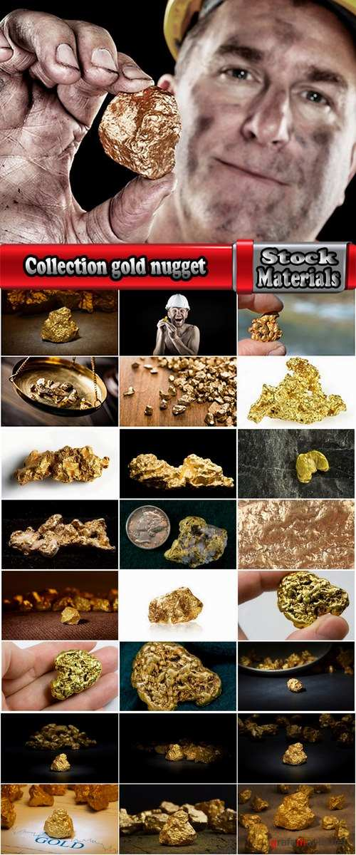 Collection gold nugget gemstone metal 25 HQ Jpeg