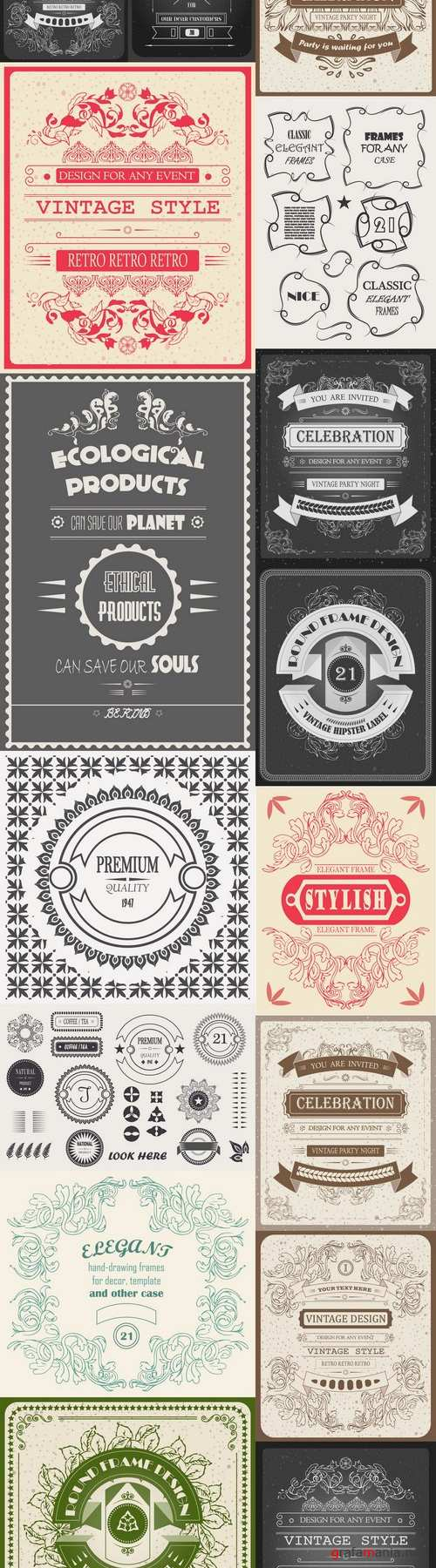 Vector cool hipster beautiful Invitation