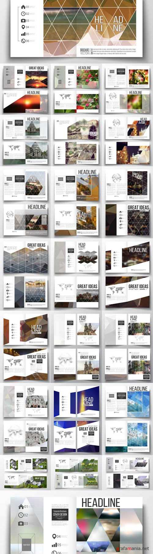 Vector 24 Business Templates for Brochure Magazine Flyer Booklet