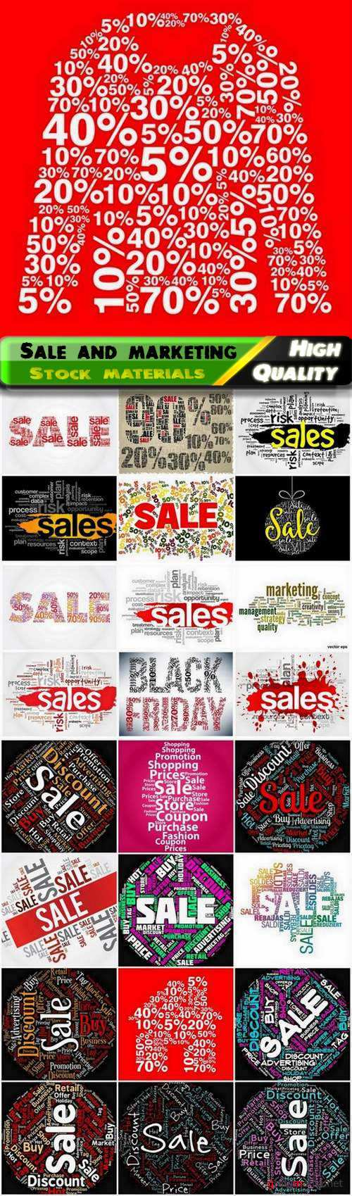Tag cloud and words for discount sale and marketing - 25 Eps