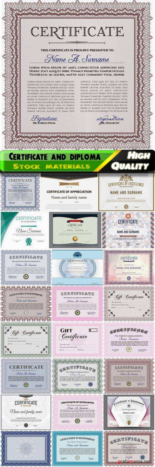 Gift certificate and diploma with guilloche stamp and frame - 25 Eps