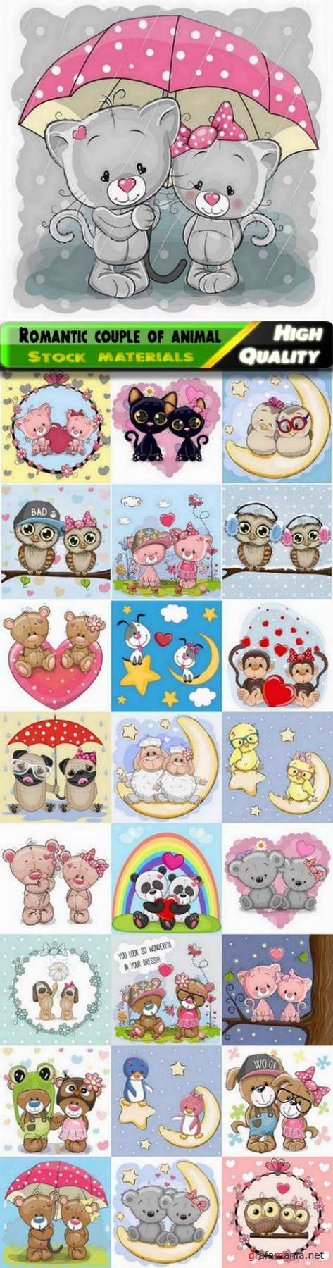 Cartoon animal romantic couple in love for valentines day card - 25 Eps