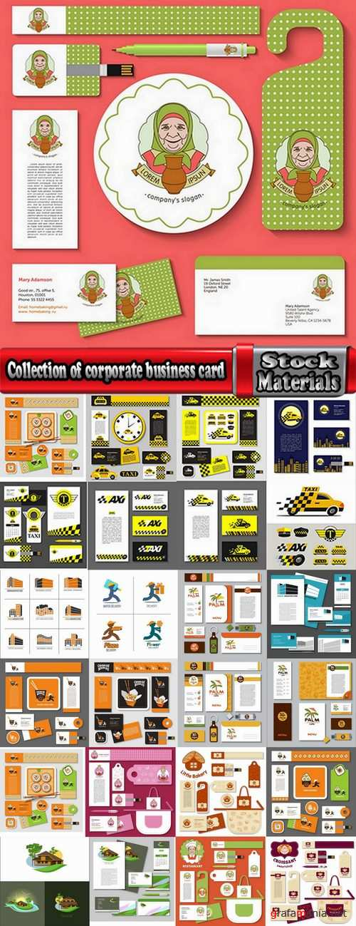 Collection of corporate business card sticker template flyer banner 25 EPS