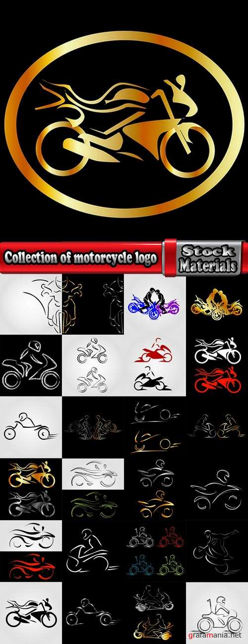 Collection of motorcycle vector a background picture flyer poster banner emblem logo EPS 25