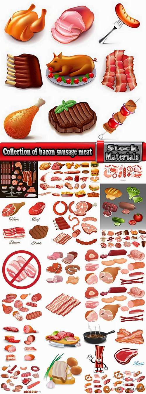 Collection of bacon sausage meat banger 25 EPS