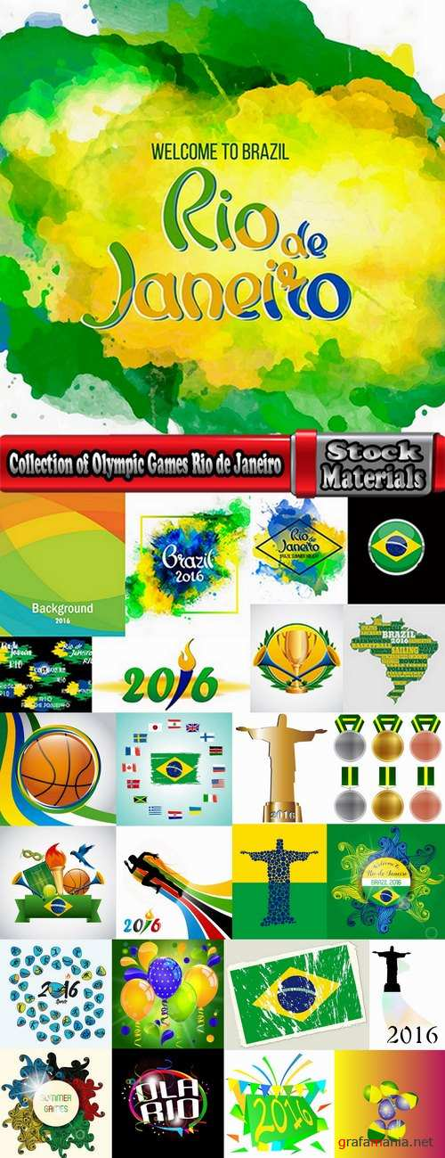 Collection of Olympic Games Rio de Janeiro 2016 background is background template gift card 25 EPS