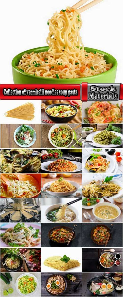 Collection of vermicelli noodles soup pasta spaghetti food meal 25 HQ Jpeg