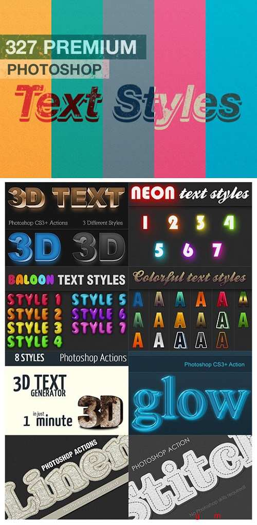 327 Premium Photoshop Text Styles