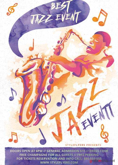 Jazz Event Watermarks PSD Flyer Template + Facebook Cover