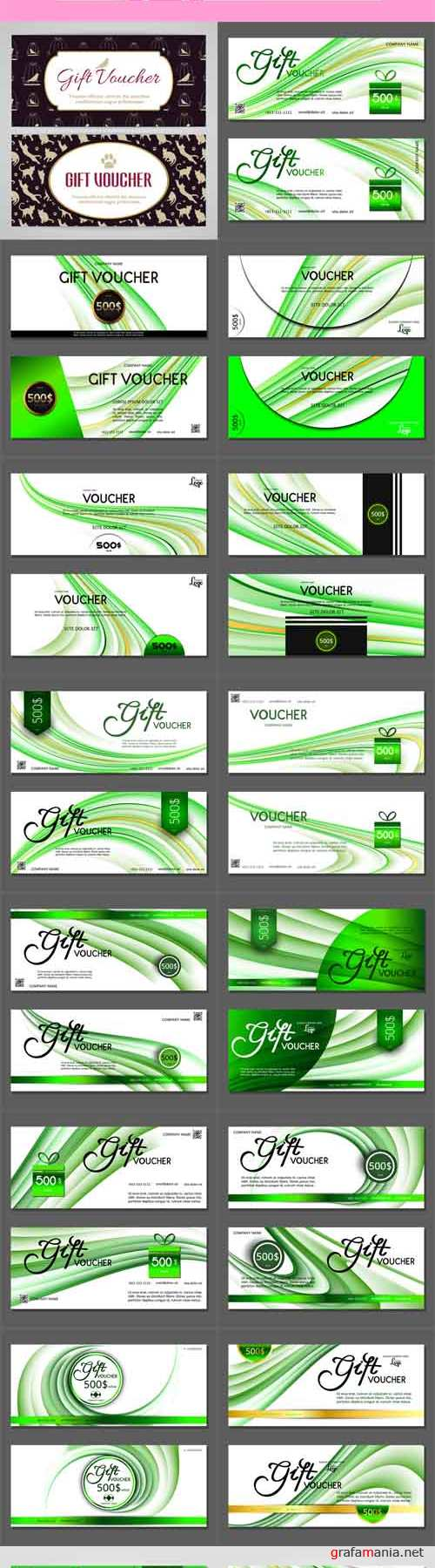Vector Gift Vouchers with Green Lines