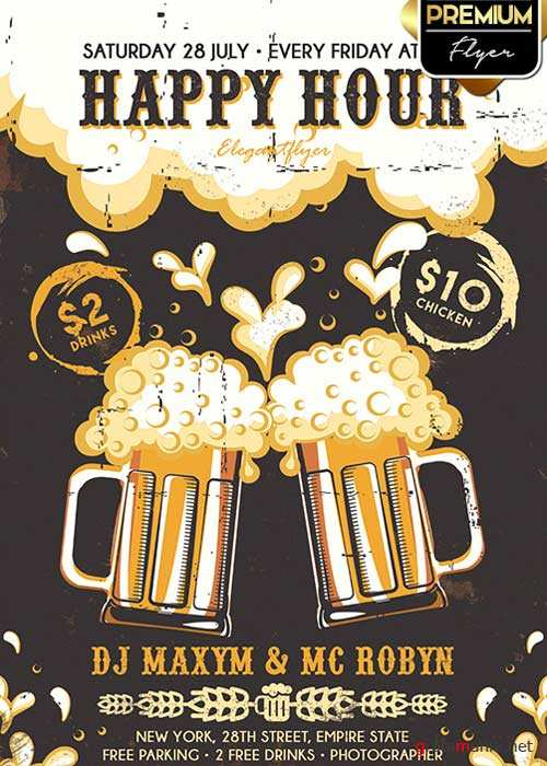 Happy Hour Flyer PSD V2 Template + Facebook Cover