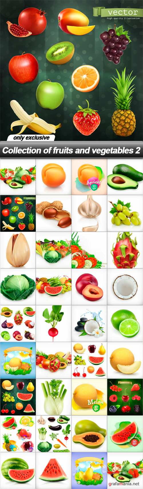 Collection of fruits and vegetables 2