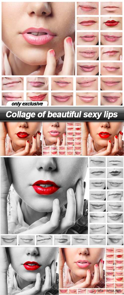 Collage of beautiful sexy lips