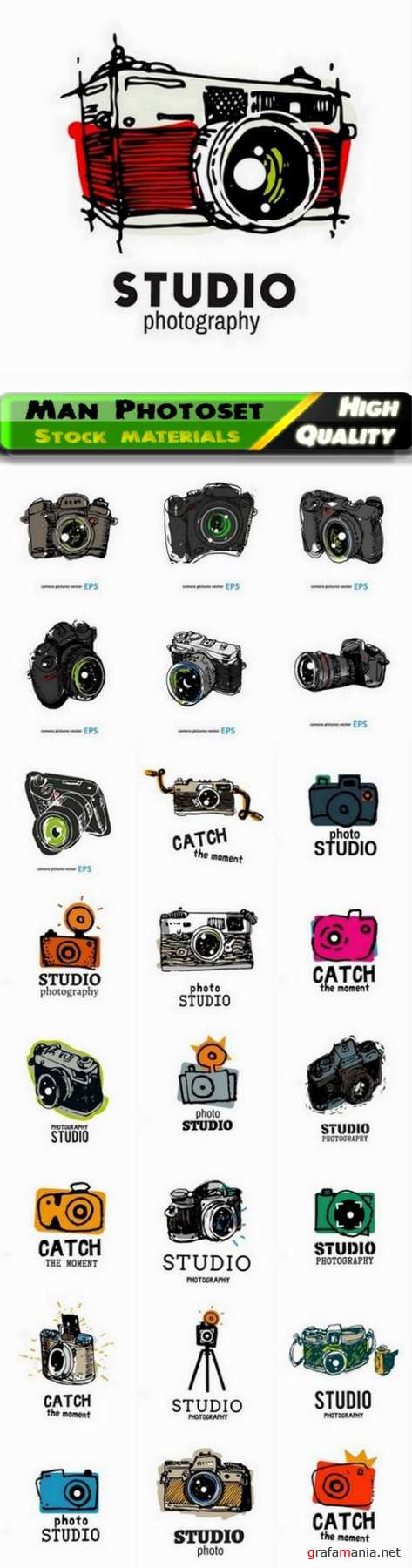 Sketch of video photography and video camera - 25 Eps