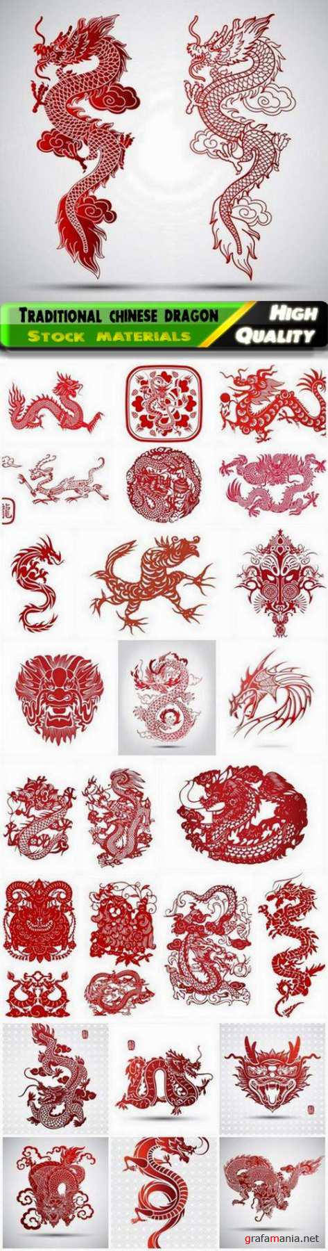 Illustration of traditional chinese dragon and snake - 25 Epsv