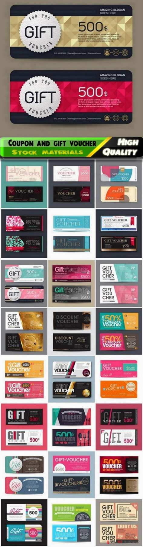 Discount coupon and gift voucher for business advertising 3 - 25 Eps