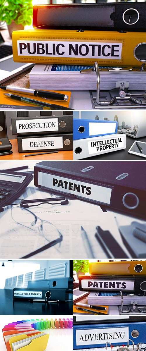 Stock Image Office Binder with Inscription Intellectual Property on Office Desktop