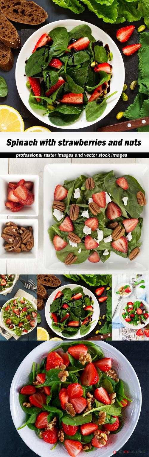 Spinach with strawberries and nuts - 5 UHQ JPEG