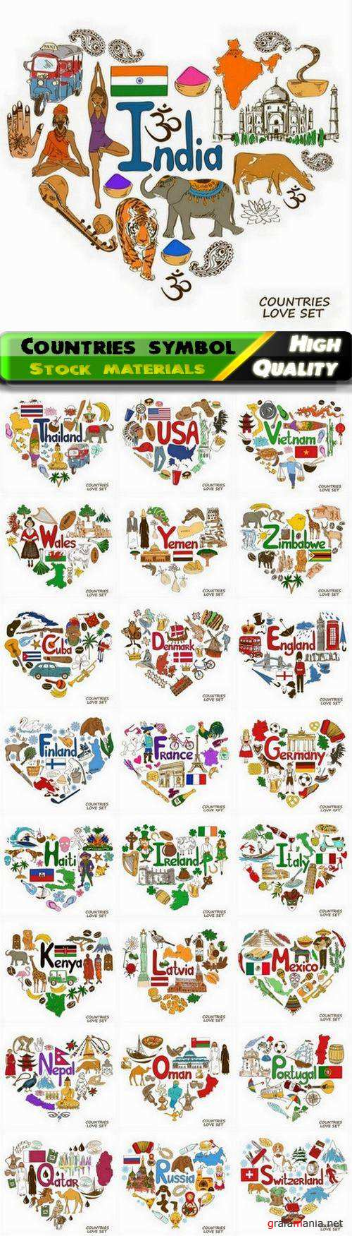 Countries symbol in heart shape and national elements - 25 Eps