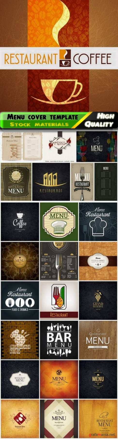 Menu cover template for restaurant or cafe - 25 Eps