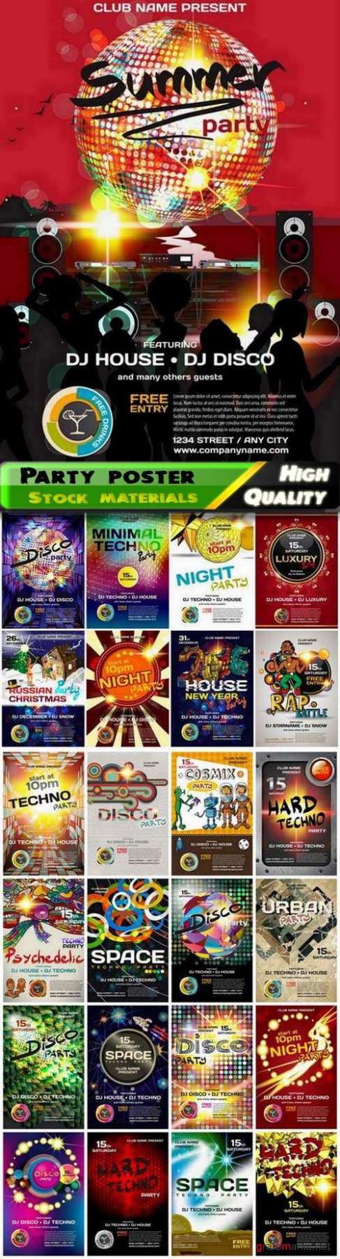 Music background for disco club flyer or night party poster 2 - 25 Eps
