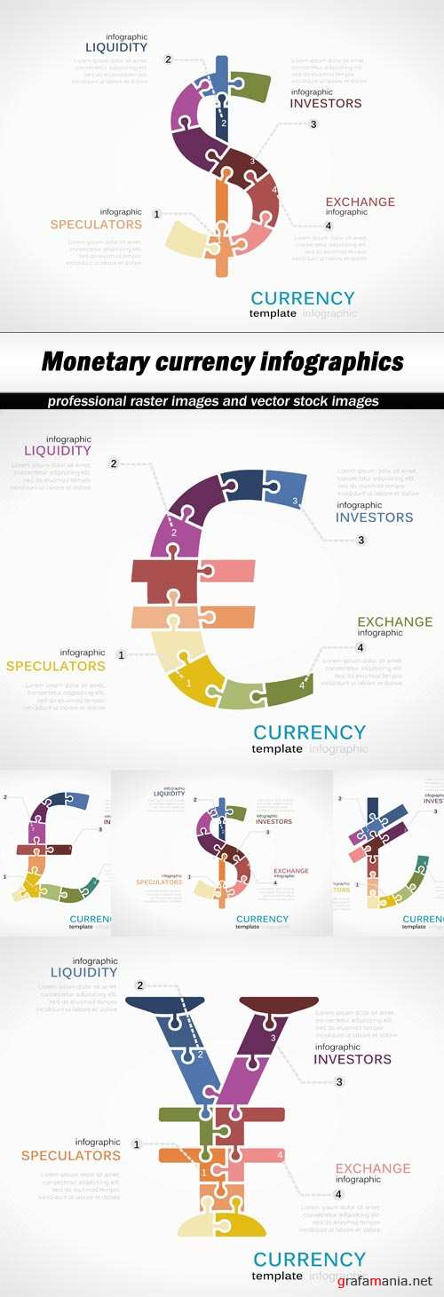 Monetary currency infographics - 5 EPS