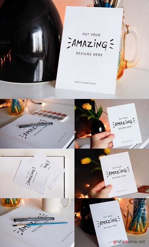 7 Mockups for Postcards & Drawing - 544159