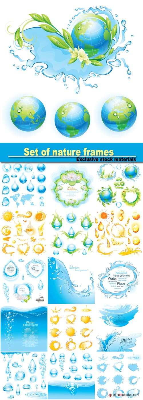 Set of nature frames, water background, orange  collection