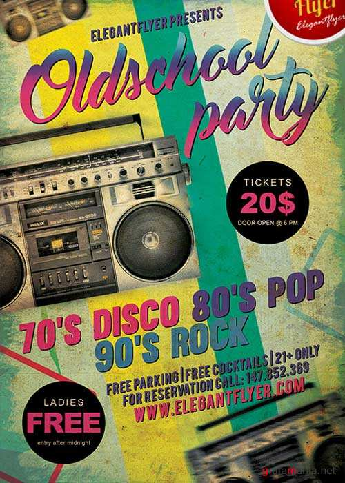 Old School Party V1 Flyer PSD Template + Facebook Cover